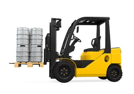 kegs: Forklift and Pallet of Beer Kegs