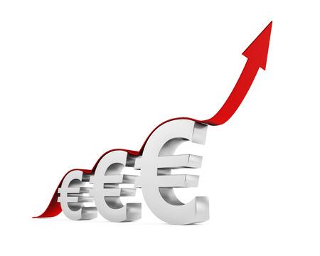 up arrow: Euro Sign With Growing Up Arrow