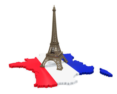 bordeaux region: Map of France and Eiffel Tower Stock Photo
