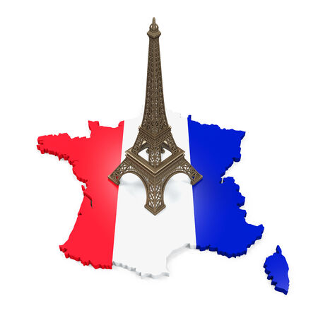Map of France and Eiffel Tower photo