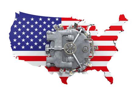 american money: Bank Vault Door and USA Map