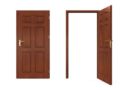 porte bois: Fermées et les portières ouvertes isolées