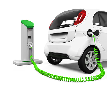 electric socket: Electric Car in Charging Station
