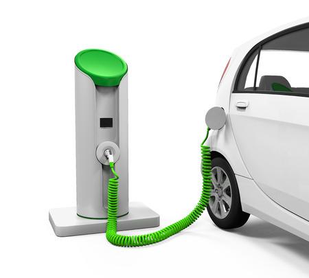 bateria: Coche eléctrico en la estación de carga
