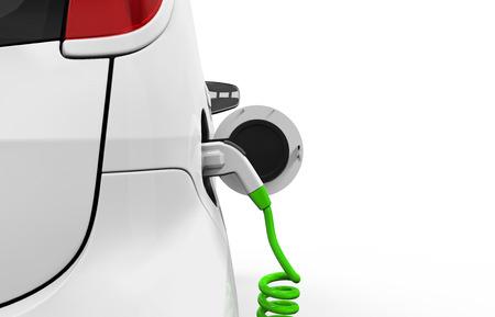 cables electricos: Coche eléctrico en la estación de carga