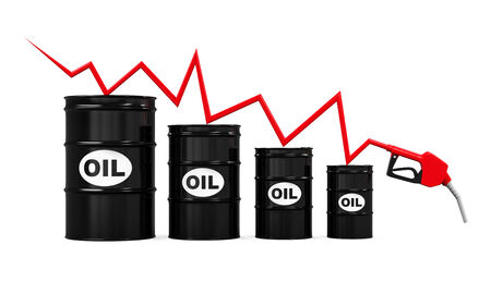 metal barrel: Oil Prices Dropping Illustration