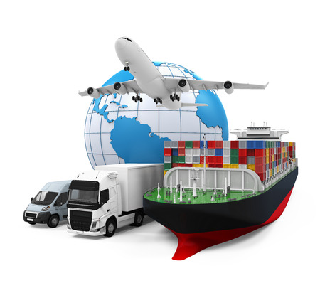 ship parcel: World Wide Cargo Transport Illustration