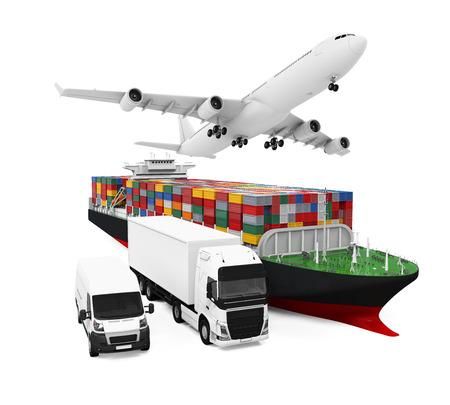 世界広い貨物輸送図 写真素材