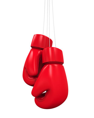 combative: Red Boxing Gloves Stock Photo