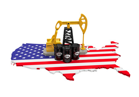 Oil Pump and Oil Barrels on United States Map photo