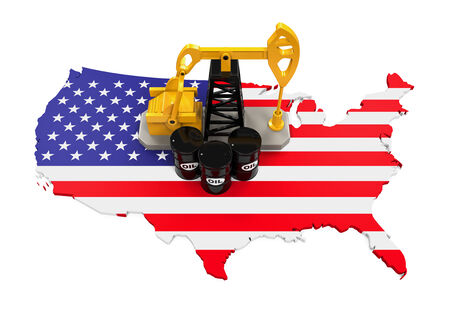 crude: Oil Pump and Oil Barrels on United States Map Stock Photo