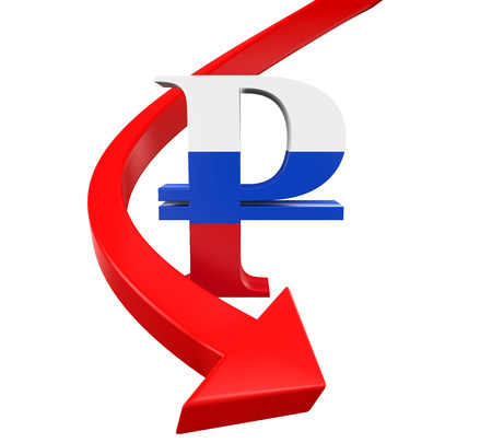 economic downturn: Russian Ruble Symbol and Red Arrow