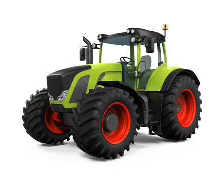 wheel tractor: Green Tractor Isolated