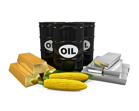 stock illustration: Commodities - Oil, Corn, Gold and Silver
