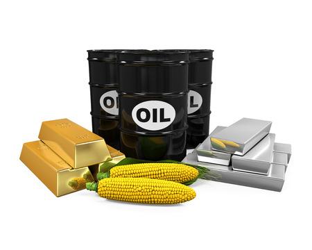 Commodities - Olie, Corn, Goud en Zilver Stockfoto