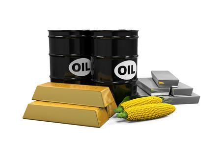 commodities: Commodities - El petr�leo, ma�z, Oro y Plata Foto de archivo