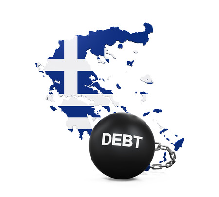 greece flag: Greece Economic Crisis Illustration