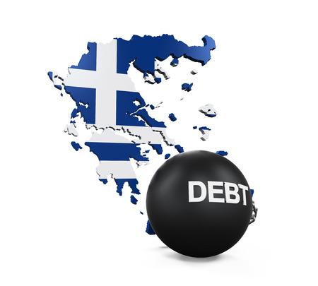 greek currency: Greece Economic Crisis Illustration