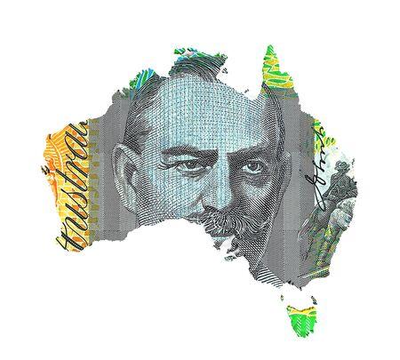 australian money: Australian Dollar Map Stock Photo