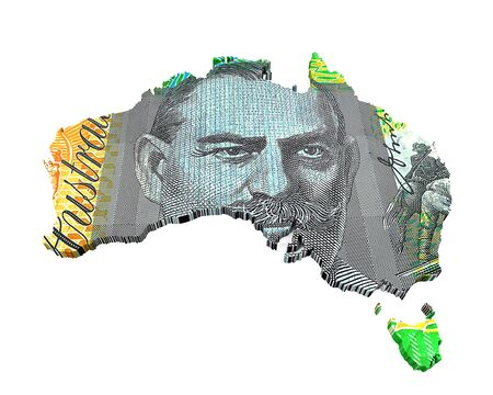 Australian Dollar Map Stock Photo