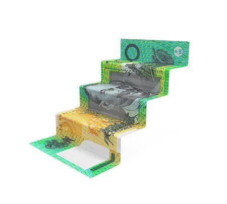 australian money: Australian Dollar Staircase Origami Stock Photo