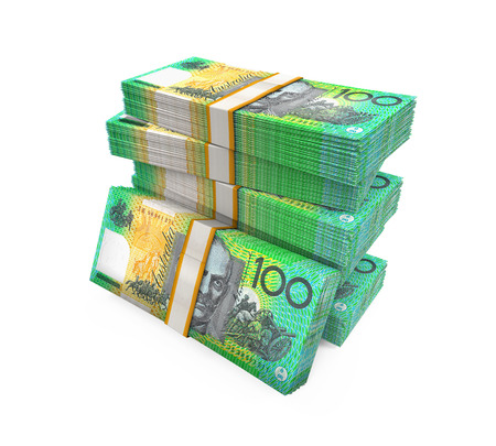 money stacks: Stacks of 100 Australian Dollar Banknotes