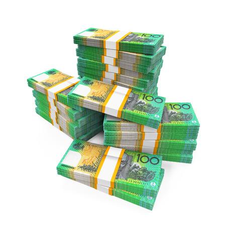 heap of dollar: Stacks of 100 Australian Dollar Banknotes