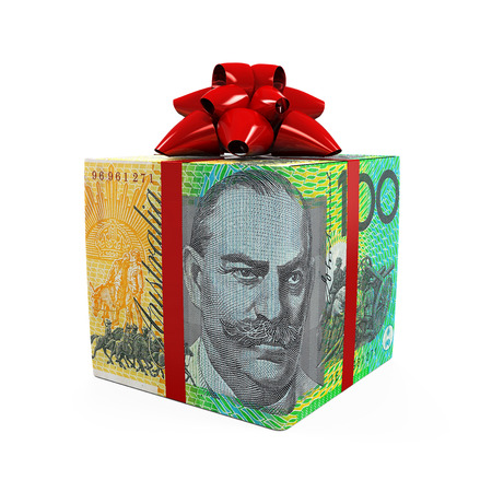 Australian Dollar Money Gift Box Stock Photo