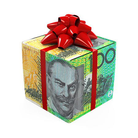 Australian Dollar Money Gift Box Stock Photo