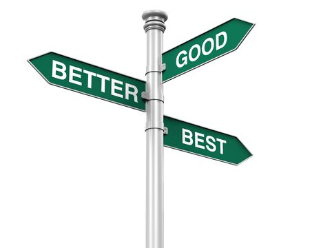 better business: Direction Sign of Good, Better, and Best