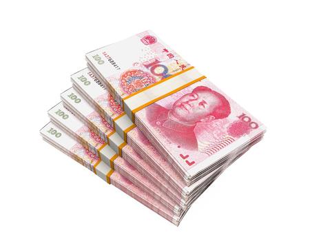 rmb: Stacks of Chinese Yuan Banknotes