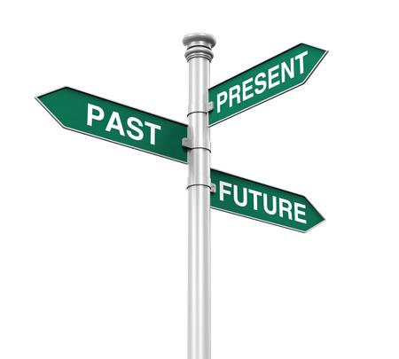 Richting teken van verleden, toekomst en heden Stockfoto