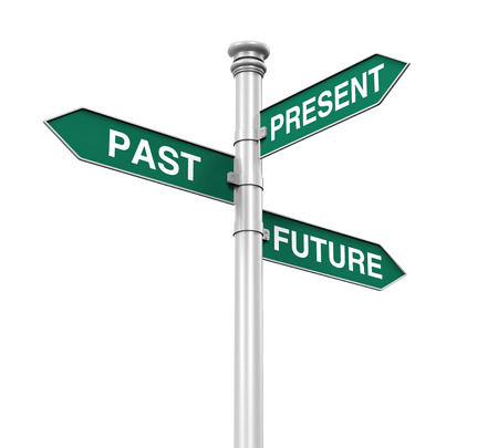 flecha direccion: Se�al de direcci�n del pasado, futuro y presente Foto de archivo