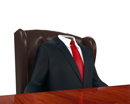 hollow: Empty Suit Figure Sitting Stock Photo