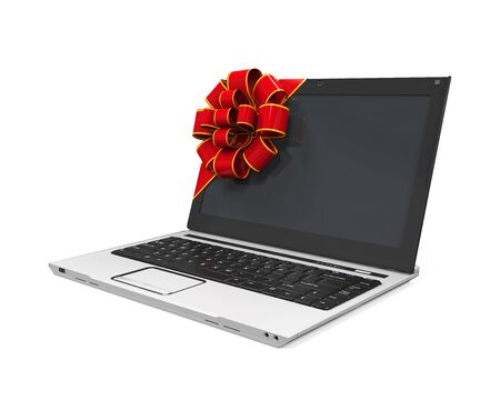 Laptop Gift with Red Ribbon photo