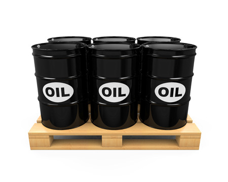 Pallet of Oil Drums Stock Photo