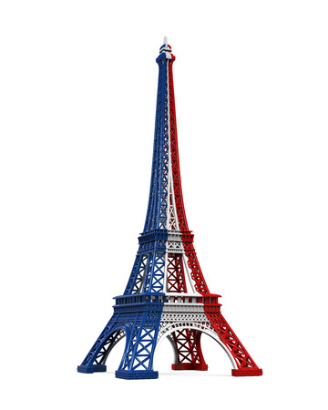 red and blue: Eiffel Tower Isolated