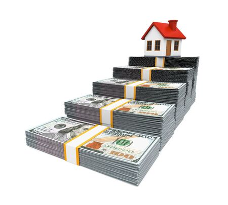 dollar bills: House Icon and Stacks of Dollar Bills