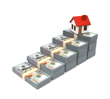 buy house: House Icon and Stacks of Dollar Bills