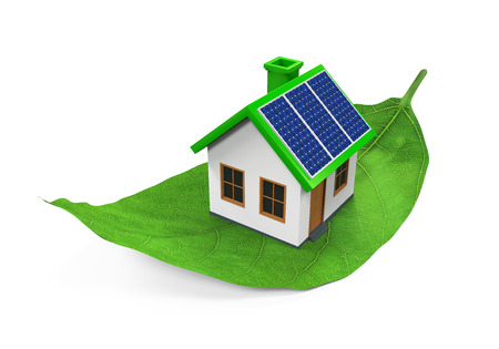 solar roof: House on Leaf Isolated Stock Photo