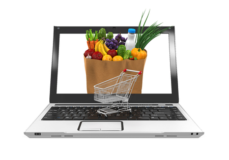 grocery basket: Online Grocery Shopping Illustration