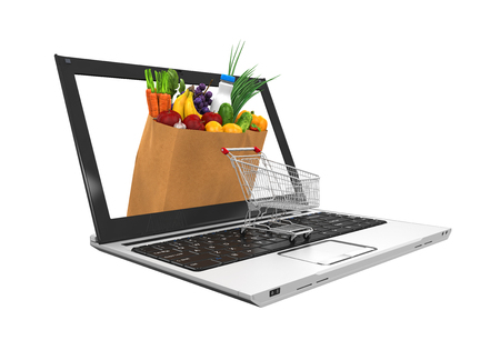 shopping cart online shop: Online Grocery Shopping Illustration