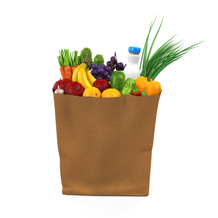 groceries shopping: Grocery Bag with Food
