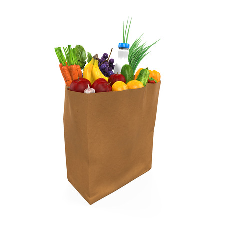 white paper bag: Grocery Bag with Food