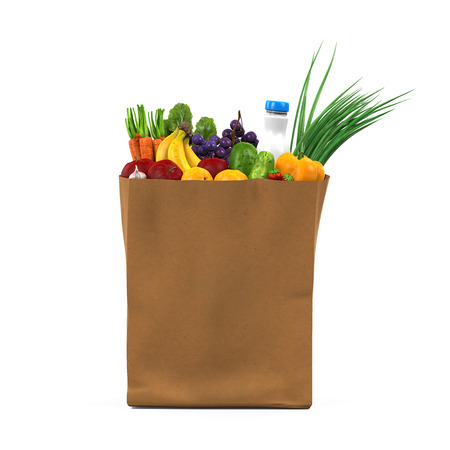grocery bag: Grocery Bag with Food
