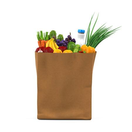 Kruidenier tas met voedsel
