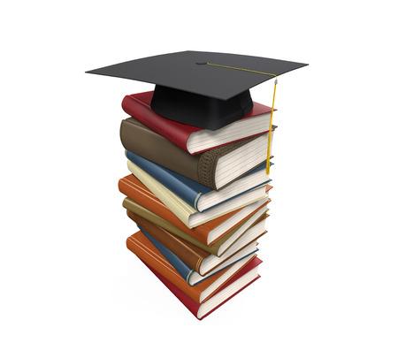 Graduation Cap and Books Stock Photo