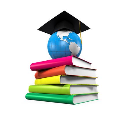 Afstuderen Cap, Globe en Boeken Stockfoto