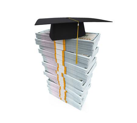 scholarship: Graduation Cap on Stack of Dollar Bills Stock Photo