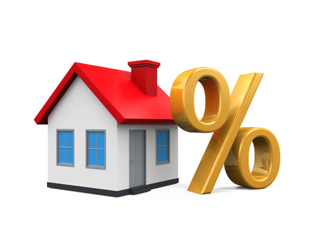 mortgage rates: House and Percent Symbol Stock Photo